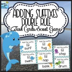 Practice adding suffixes using the double rule with these task cards. These fun ocean themed task cards can also be used as a scoot game to keep students activity engaged. *********************************************************************Here are a list of ways to use the double rule task cards:*test review*tutoring*math stations/centers*early finishers*small group*end of unit quick assessments *reinforcement*sub tubs*enrichment