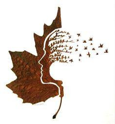 obras de arte con hojas secas