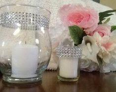 Items similar to Wedding centerpiece, Candle holders, Rhinestone vase, Set of six rhinestone cylinder vases and votive holders, unity candle holder on Etsy Wedding Vase Centerpieces, Wedding Vases, Gatsby Wedding, 6 Candles, Floating Candles, Unity Candle Holder, Votive Holder, Jar Candle, Vase Noir