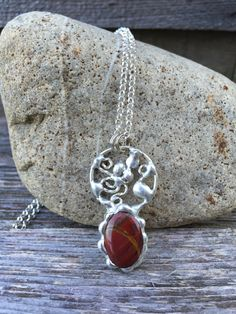 Red Fancy Jasper with Sterling Silver Filigree Necklace. by PixieStixDesigns on Etsy