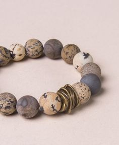 The earth tone variations of Jasper stone in this beaded bracelet are said to help the wearer see their strengths and weaknesses. Jasper increases loyalty and a sense of fun Bohemian Accessories, Bohemian Jewelry, Jewelry Accessories, Hippie Rings, Raw Stone Jewelry, Jasper Stone, Gemstone Bracelets, Jewelry Making, Jewelry Box