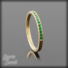 Genuine Emerald 14kt Yellow Gold Plated Sterling Silver Mothers Ring with Milgrain - May Birthstone - LS2414