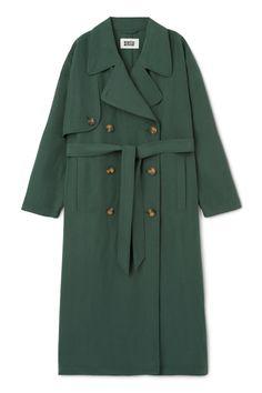 Weekday Wild Trench Coat in Green Dark