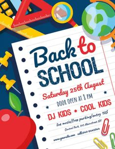 Download the Free Back to School Flyer PSD Template! - Free Flyer Templates, Free School Flyer - #FreeFlyerTemplates, #FreeSchoolFlyer - #Community, #Event, #School