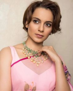 Kangana Ranaut in Printed Chiffon Sarees With Sleeveless Blouse
