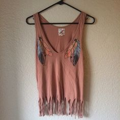 Fringe Top Salmon color. Feather graphics. Tank. (Few slightly tugged fringes on the bottom) CONDITION: Good Urban Outfitters Tops