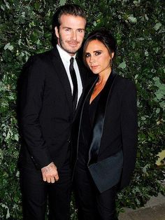 David and Victoria Beckham - color coordinate their chic ensembles to celebrate the Global Fund's Green Carpet Challenge night in London