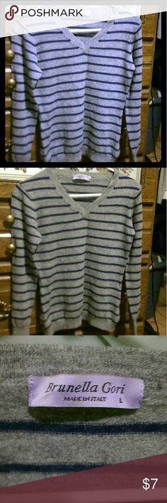 Cute Ladies V-Neck Striped Sweater Ladies gray w/navy blue stripes V -Neck Sweater. Very seldom worn. It looks like wool or acrylic material prob.,but it's actually soft,w/a little bit of stretch to it. The tag listing materials made of,wash.instructions,etc..is no longer in shirt. Only tag just says brand and size. It is sized as a Large, but I think it runs a little on the small side for a Large. Feel free to comment for addl.pics or measurements, or any ?'s.   *Bundle for Better Prices…