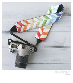 rainbow chevron camera strap cover. $40.00, via Etsy.