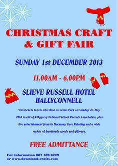 Christmas Craft and Gift Fair - Events - Downland Crafts Christmas Crafts For Gifts, Craft Gifts, Parents Association, Win Tickets, Event Organization, Event Calendar, Handmade Crafts, Ireland, Events