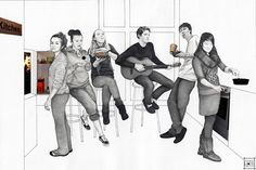 Title: The Halls Kitchen and My Surrogate Family. Medium: Graphite / Collage