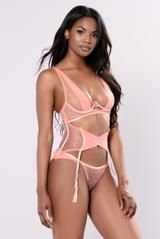 Available in Coral Front/Back Wavy Mesh Matching Lingerie Set Bra and Panty All Lingerie FINAL SALE