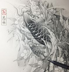 "811 Me gusta, 4 comentarios - Zhiyongma. 志永刺青. MA ART D.O.O (@zhiyong_tattoo) en Instagram: ""#koifish#drawing#Blackandgreytattoo#asiantattoo#europeantattoo#Asianink#chinesetattoo#japanesetattoo#maart#Slovenia#worldofpencils#sketch#illustration#irezumi#tattoolife#tattooartist"""
