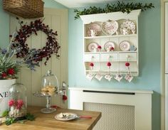 Lavender Cottage Whitby. Love small hanging shelves/cabinets.