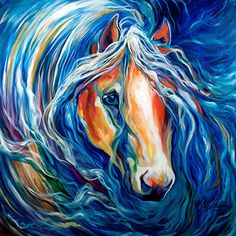STORMS CALM ~ EQUINE ABSTRACT by M BALDWIN Oil ~ 24 x 24