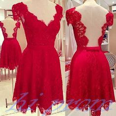 Red Homecoming Dress,Lace Homecoming Dress,Cute Homecoming Dress,Backless Homecoming Dress,Short Prom Dress,Open Back Homecoming Gowns,Open Backs Sweet 16 Dress With Cap Sleeves
