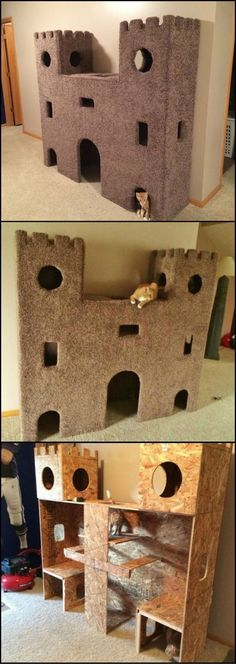 Plywood Cat Castle DIY Cat Project: How to build the ultimate cat castle! This is a great idea to keep indoor cats busy.DIY Cat Project: How to build the ultimate cat castle! This is a great idea to keep indoor cats busy. Cat Castle, Cat Towers, Ideal Toys, Cat Room, Pet Furniture, Repurposed Furniture, Furniture Ideas, Children Furniture, Animal Projects
