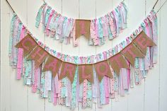 Adorable burlap banner set. Rag Tie Name Banner, Pink,Aqua, Shabby Chic, Rag Tie Garland, Fabric Garland, Photo Prop, Cake Smash, Highchair banner, Custom  This set includes a 4 foot rag tie banner, burlap name banner, and highchair banner. These items can also be purchased separately. See my package listing for options. The banner is 4 feet in length with 2 feet additional on each end for tying. If you would like something that is not listed, please contact me. Please send name you would…