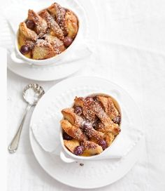 crunchy croissant and grape bread-and-butter pudding