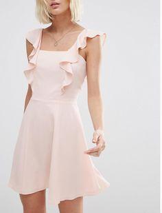 Pink Chiffon Ruffle Trim Cami Skater Dress