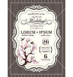 Vintage cherry blossom wedding invitation card vector - by kraphix on VectorStock®