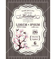 Vintage cherry blossom wedding invitation card vector - by kraphix on VectorStock®