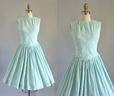 Vintage 50s Dress/ 1950s Cotton Dress/ Turquoise Gingham Print Drop Waist Dress w/ Bow S