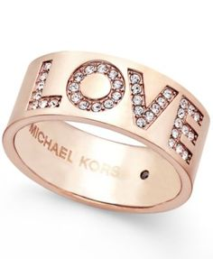 c833d492deaf6 Michael Kors Rose Gold-Tone Pavé Love Ring - Fashion Jewelry - Jewelry    Watches - Macy s