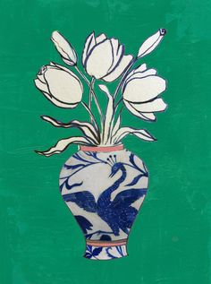 Flowers in Vase by Ruti Shaashua - Flowers in a blue and white vase set on a kelly green background. Blue And White Vase, White Vases, Art And Illustration, Flower Vases, Flower Art, Flower Vase Drawing, Arte Inspo, She Wolf, Green Backgrounds