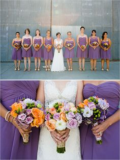purple bridesmaid dresses (Dena - the orange flowers with it are pretty!)