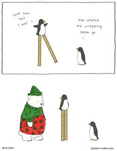 wrapping paper disappearance | Liz Climo comic (2015-12-04) via tumblr