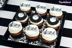 music theme cupcakes black and white