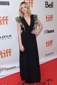 Refined: Plunging into a V-neckline, the ITV star gave a subtle glimpse of her cleavage, before the material cascaded to a demure floor length Laura Carmichael, Toronto Film Festival, British Actresses, International Film Festival, Couture Fashion, Diy Clothes, United Kingdom, Celebrity Style, Neckline