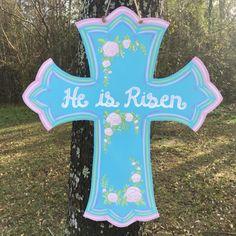 Easter Cross Door Hanger Cross door hanger flower by Handiwork210