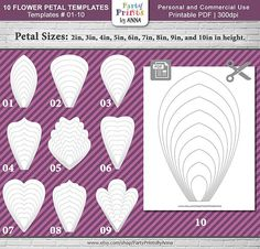 ITEM ID: FlowerPetals-Templates-01-10 ~~~~~~~~~~~~~~~~~~~~~~~~~~~~~~~~~~~~~~~~~~~~~~~ You might also be interested in Templates 11-20 found here: https://www.etsy.com/listing/586072558 Or, PAPER ROSE TEMPLATE available here https://www.etsy.com/listing/601651619