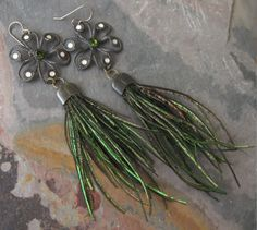 Peacock Feather Shoulder Duster Earrings with Vintage Brass Flower Rhinestones Assemblage