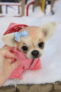 Another awesome needle felted Chihuahua baby!  Made by My_Sherry