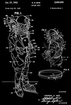 Motorcycle blueprint art print letters and words and images 1953 diving suit e d buie patent art poster malvernweather Gallery