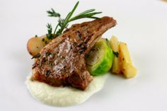 Rosemary and Thyme Lamb Chops with Butter Braised Root Vegetables and Cauliflower Puree