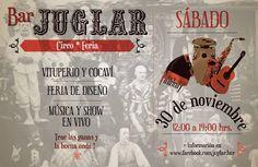 Música en vivo, magia, espectáculos en tela y productos de diseño hechos a mano son algunas de las actividades que se realizarán en el Bar Juglar el sábado 30 de noviembre, de 12:00 a 19:00 hrs. Más info en www.vinadatos.cl