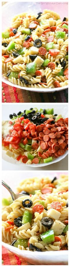 Pizza Pasta Salad - all the flavors of a delicious pizza in a pasta salad. Warmed up the leftovers with marinara sauce for my kids! the-girl-who-ate-everything.com