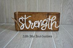 SALE  ready to ship  Strength wood block  by littlebluebirdcreate