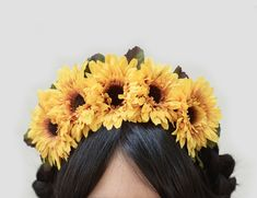 Items similar to Sunflower Flower Crown with Green Leaves and Babies Breath Rustic flower crown Bridesmaid flowers Flower Girl crown Sunflower crown etsy on Etsy Sunflower Headband, Flower Crown Headband, Sunflower Flower, Headband Hair, Headbands, Mexican Flowers, Flower Costume, Festival Outfits, Festival Clothing