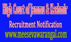 High Court of Jammu & Kashmir JK High Court Recruitment Notification 2016-08 Researcher Vacancy - Last Date September 20   JK High Court...
