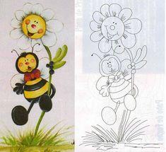 Vejam que fofas essas abelhinhas! No link abaixo têm 3 riscos com a pintura.