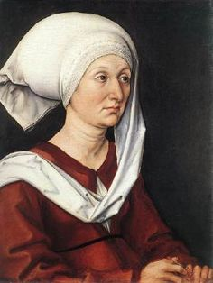 Portrait of Barbara Durer - Albrecht Durer.  1490.  Oil on panel.  47 x 38 cm.  Germanisches Nationalmuseum, Nuremberg, Germany.
