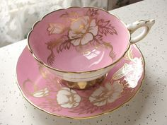 Antique pink bone china tea cup set vintage Royal