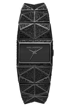 KARL LAGERFELD 'Perspektive' Pavé Bracelet Watch, 27mm x 20mm