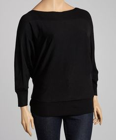 Take a look at this Black Ribbed Dolman Sweater - Plus by Carol Rose on #zulily today!