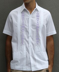 Guayabera wedding shirt white cotton with light purple lilac lavender embroidery